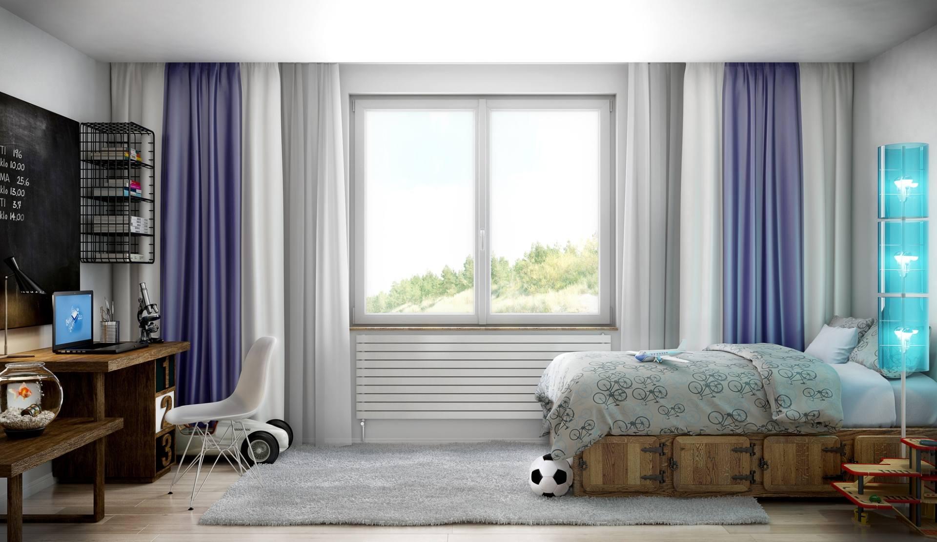 camera da letto con finestra centrale